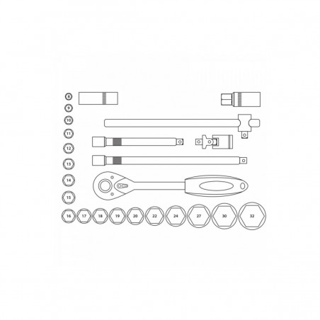 Klucze nasadowe DEDRA - 17K025