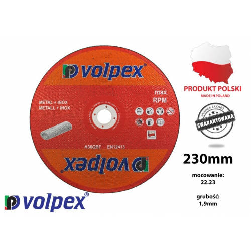 TARCZA 230*1.9*22.2 41 A36QBF INOX VOLPEX TARCZA 230*1.9*22.2 41...