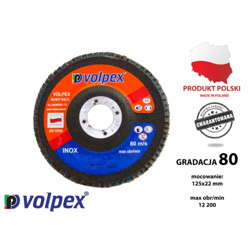 Tarcza płytkowa 125 mm, gradacja 80, inox - VOLPEX Tarcza płytkowa 125 mm,...