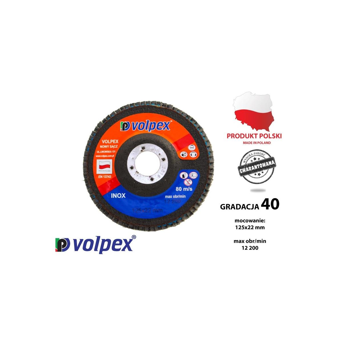 Tarcza płytkowa 125 mm, gradacja 40, inox - VOLPEX Tarcza płytkowa 125 mm, gradacja 40, inox - VOLPEX