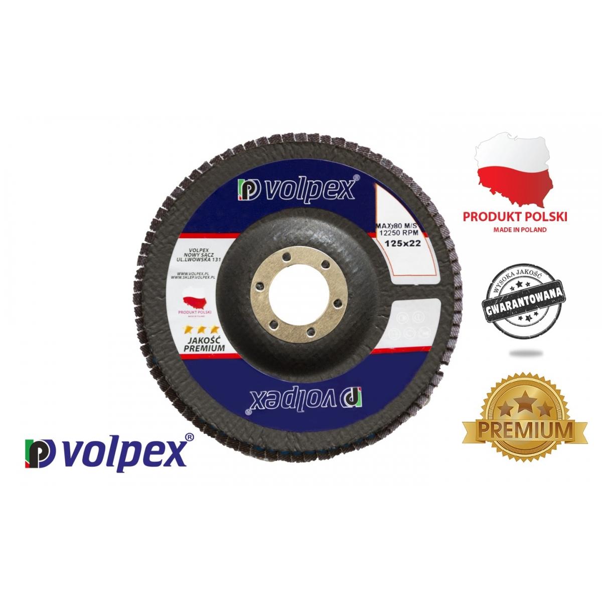 TARCZA PŁYTK. 125 GR.40 INOX PREMIUM VOLPEX Tarcza płytkowa 125 mm, inox premium - VOLPEX
